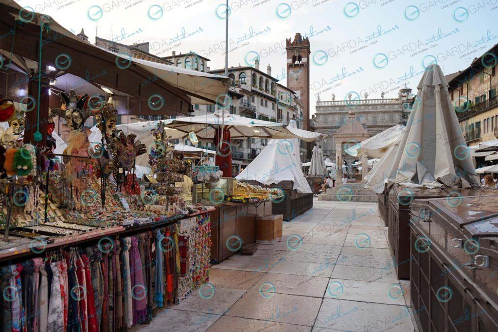 Verona – market stalls in Piazza Erbe